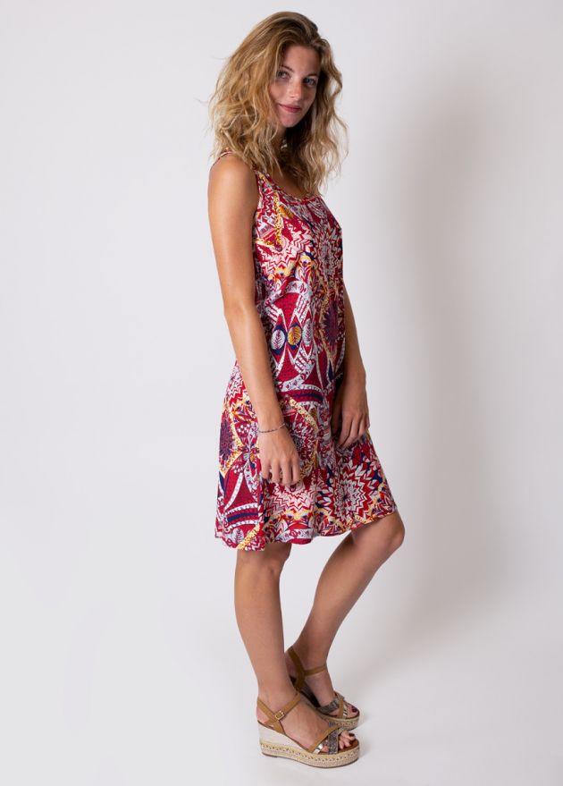 robe-courte-viscose-imprimé-rouge