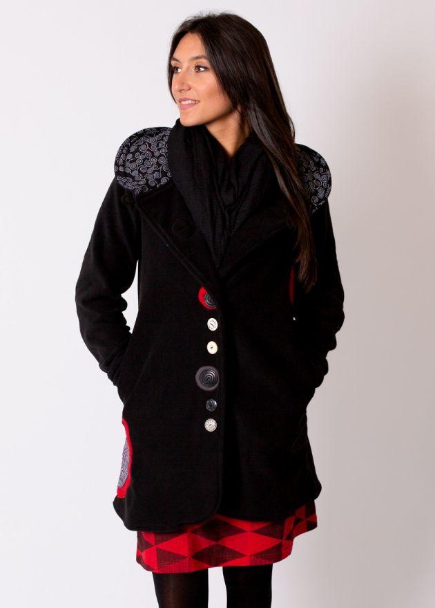 manteau polaire à capuche noir