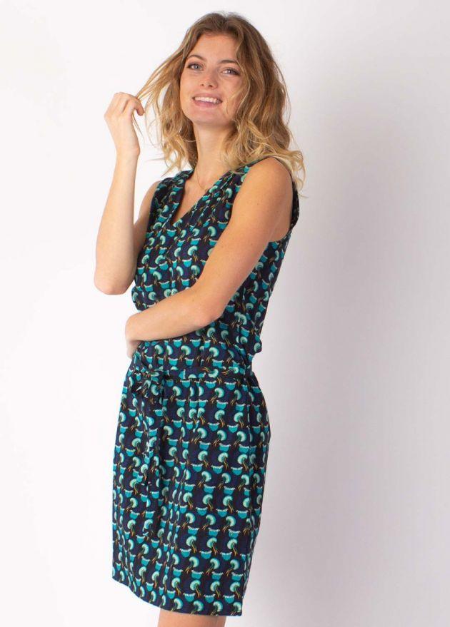 robe courte imprimé africain turquoise