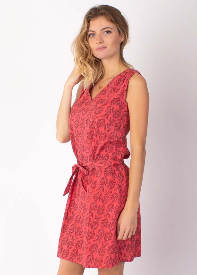 robe fleurie rouge coton