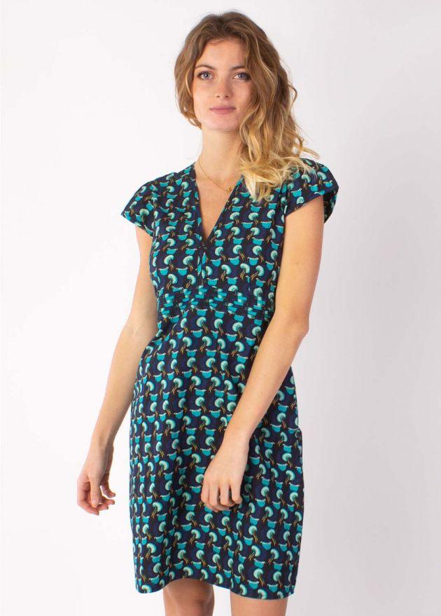 robe courte vanessa imprimé africain bleu