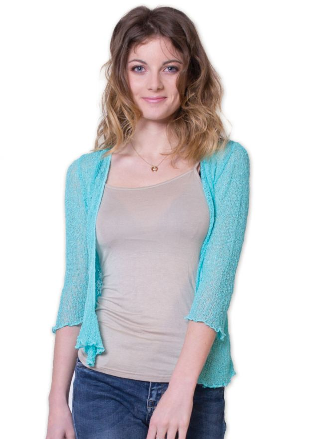 gilet été femme composition acrylique turquoise à nouer