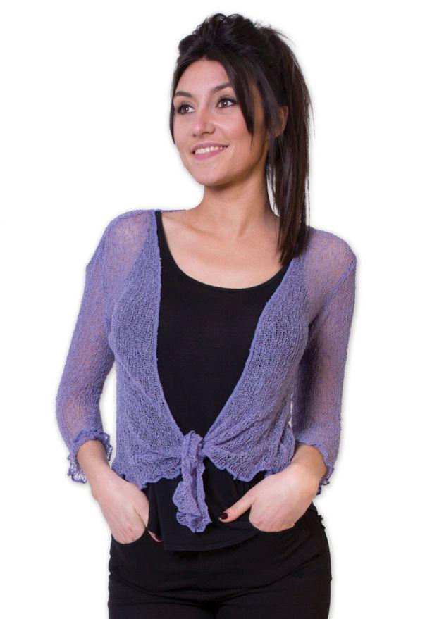 gilet été femme matière acrylique violet