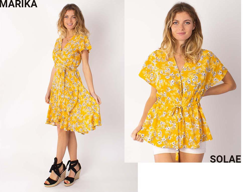 imprimé floral jaune